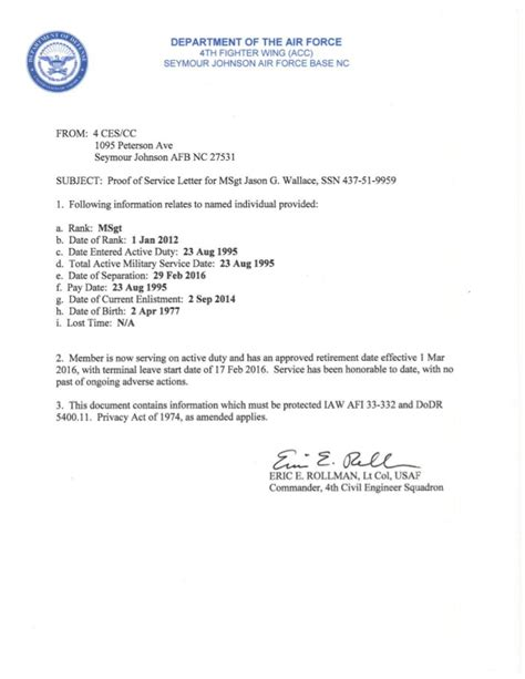 Va Statement Of Service Letter Exle Active Duty Statement Of Service
