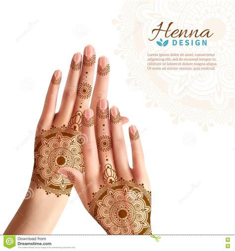 henna tattoo posters mehndi henna hads realistic design stock vector