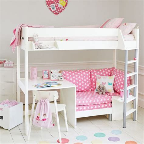 High Sleeper Bed With Sofa Merlin High Sleeper White With Pink Sofa Bed Beds Mattresses Up To 30percent