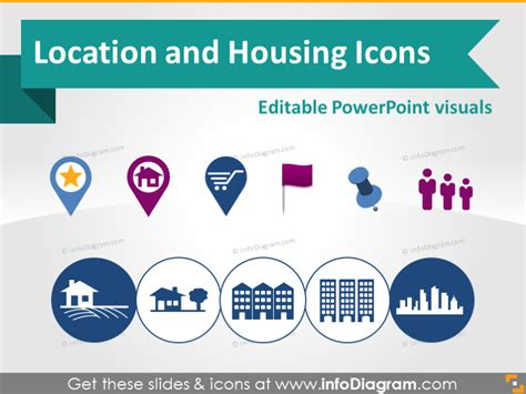 powerpoint design location location map marker building house logistics symbols