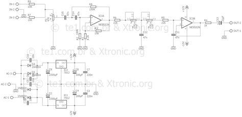schematic diagrams circuit adjustable bass filter from 50 hz to 150 hz ne5532