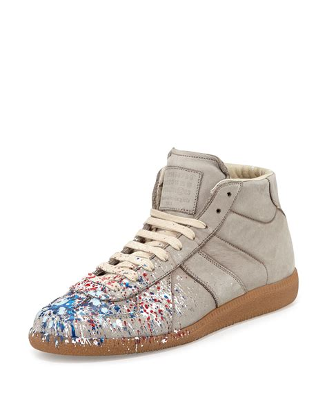 sneaker replica maison margiela replica paint splatter high top sneaker in