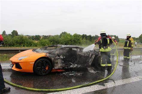Lamborghini Burning Lamborghini Aventador Burns To A Crisp On German Autobahn