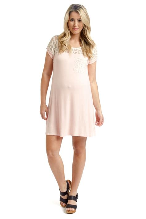 Pink Lace Summer S M L Dress pink lace top maternity dress tunic