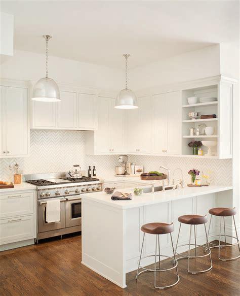 all white kitchen ideas white chevron tiles transitional kitchen jute