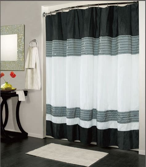 White And Black Shower Curtain by Ibiza Black White Luxury Fabric Shower Curtain Bathroom