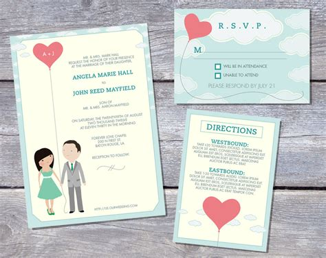 printable wedding stationery wedding invitation suite custom cartoon printable design
