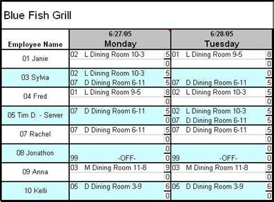 restaurant scheduler template