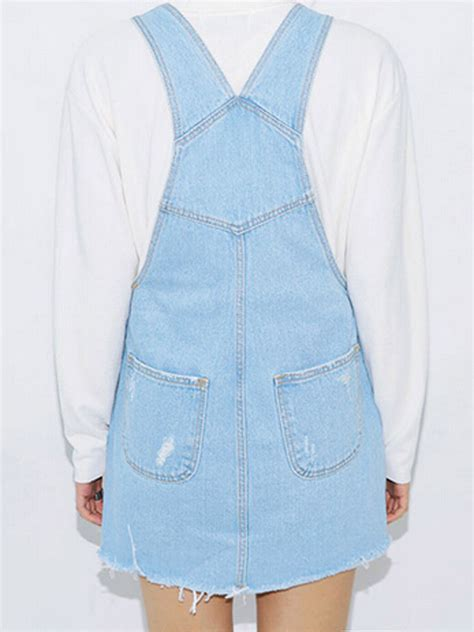 Suspender Denim Dress 2016 light blue ripped fringe hem denim suspender dress
