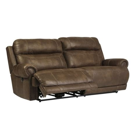 Ashley Austere 2 Seat Faux Leather Reclining Sofa In Brown Faux Leather Reclining Sofa