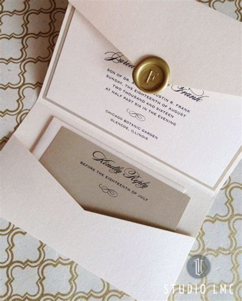 custom pocketfold wedding invitations custom pearl and gold shimmer pocketfold wedding invitation with gold wax seal by studiolmc
