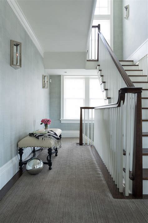 grey wallpaper hallway ideas beach front shingle style reno home bunch interior