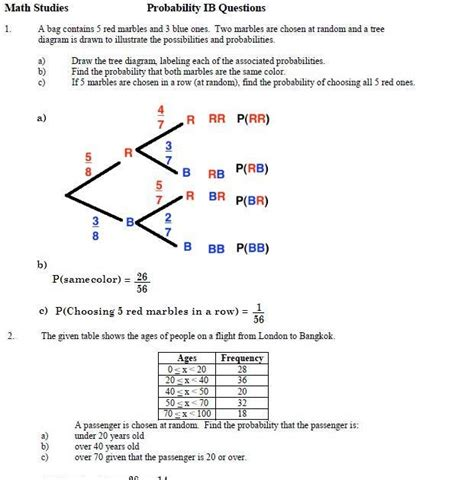 Probability Worksheet Answers by Southwest Math Studies Page Before All Of The