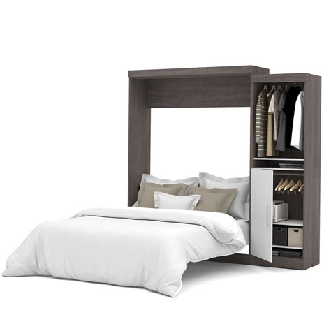 queen wall bed nebula 90 quot queen wall bed kit in bark gray white
