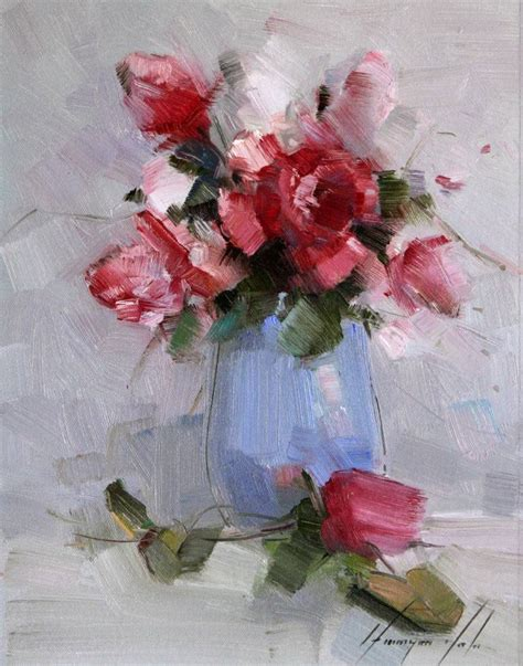 Handmade Paint - saatchi vase of roses original painting on canvas