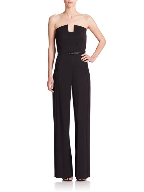 lena jumpsuit lyst black halo lena strapless jumpsuit in black