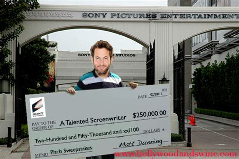 Sweepstakes Check - hollywood using giant cardboard checks to get screenwriters excited about pitching