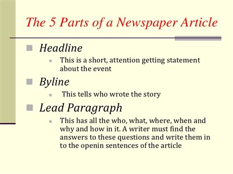 sections of an article how to write a newpaper article