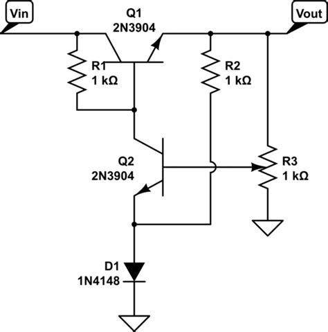 transistor voltage regulator circuit transistors what is the purpose of r2 in this discrete voltage regulator circuit electrical