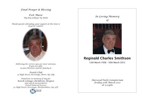 order of service for funeral template exles of funeral service order