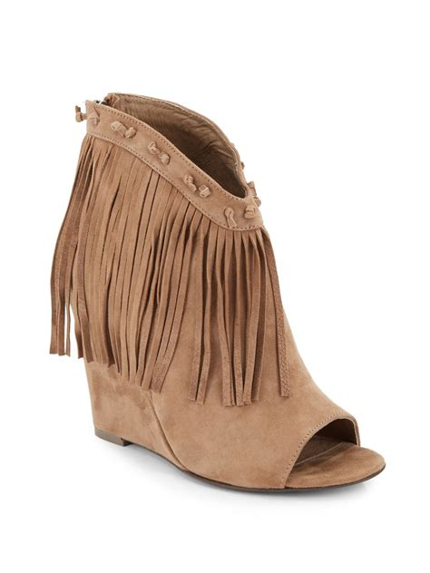 fringe ankle boots ash janis fringe nubuck wedge ankle boots in beige taupe
