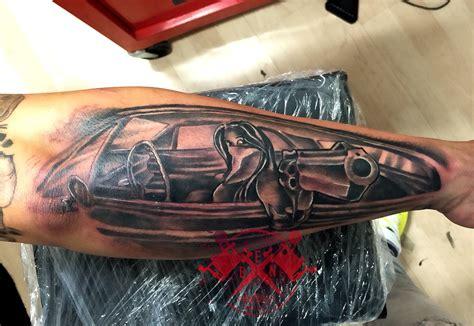 girl gun tattoos chicano gangster gun car tattoos