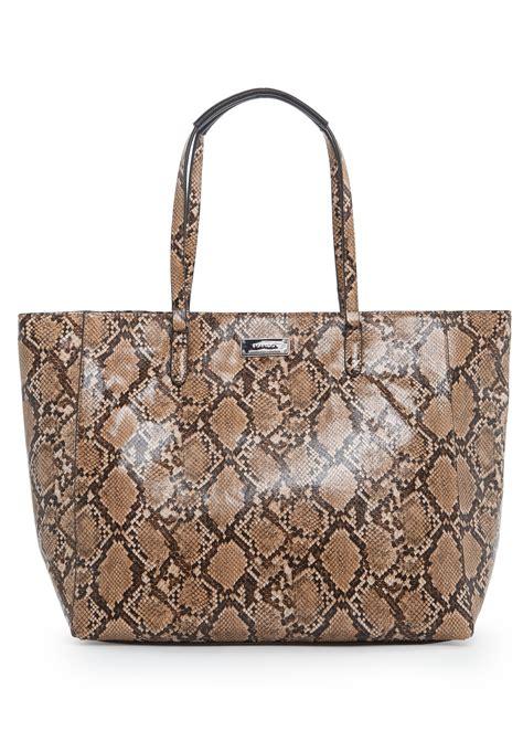 Furla Faux Snake Venere Bow Bag by Lyst Mango Faux Snake Skin Shopper Bag In Brown