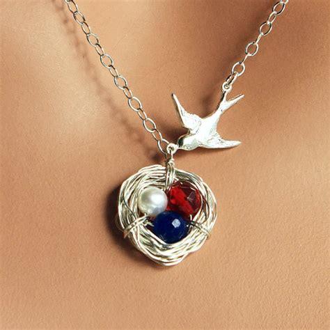 birthing necklace birth bird nest necklace sterling silver bird by