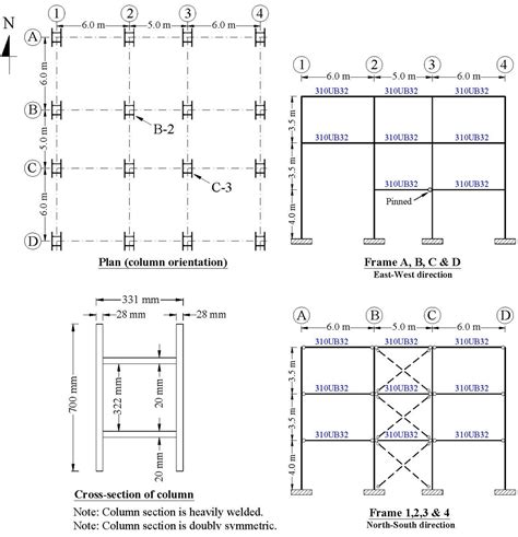 section of column plan view of a 3 storey building cross section an