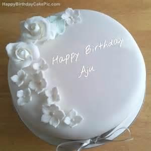 white roses birthday cake for aju