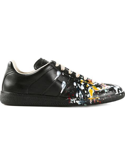 paint sneakers maison margiela replica paint splatter leather low top