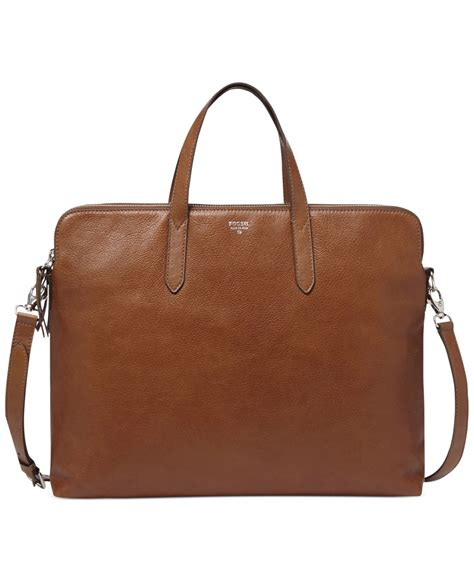 fossil sydney leather work bag in brown lyst