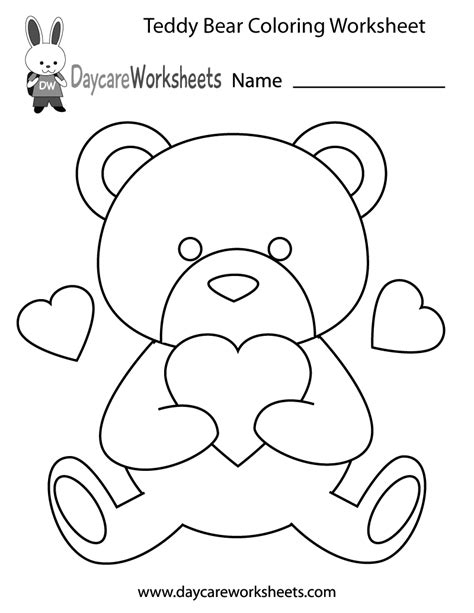 Coloring Work Sheets by Free Preschool Teddy Coloring Worksheet