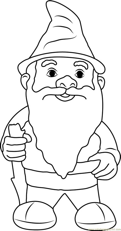 coloring page garden gnome garden gnome with fluffy beard coloring page free gnomeo