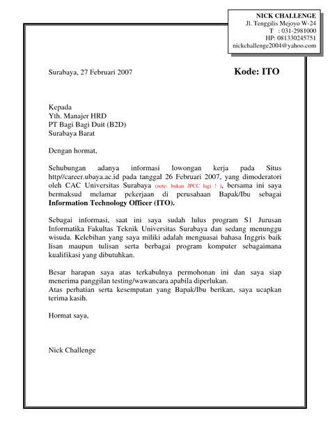 Contoh Cover Surat Lamaran Kerja contoh cover letter lamaran kerja dalam bahasa inggris