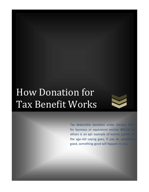 deduction under section 35ac how donation for tax benefit works