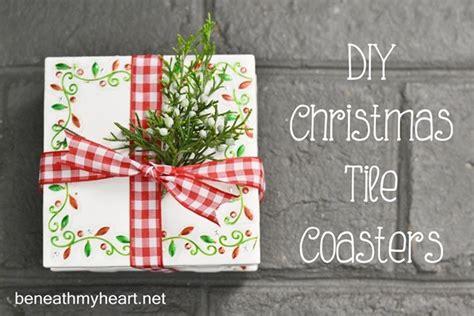 inexpensive diy hostess  teacher gift tile coasters