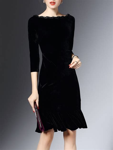 shop midi dresses black  sleeve flounce bateauboat