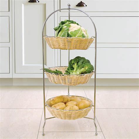 vegetable storage rack wicker baskets 3 tier holder store