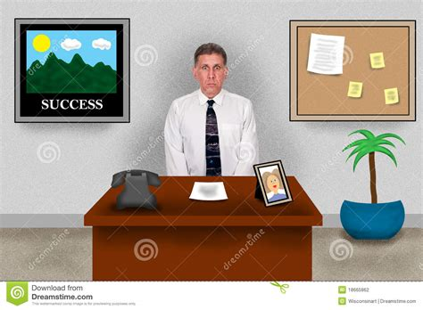 bureau travail business office sitting at work desk stock