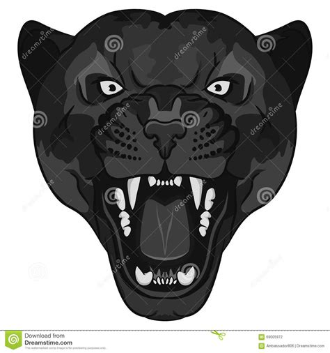 tattoo cartoon black panther portrait angry wild big cat stock vector image