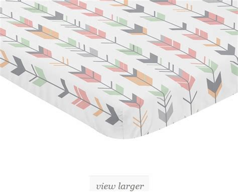 Mini Crib Sheet Pattern Coral Grey And Mint Baby Toddler Fitted Mini Portable Crib Sheet For Mod Arrow Collection By