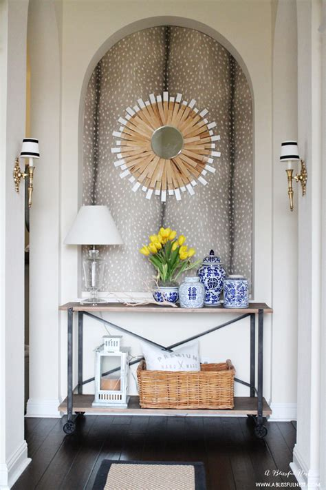 foyer niche ideas diy entry niche wallpaper tutorial