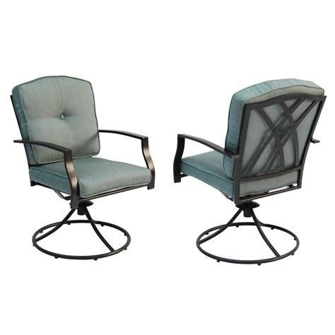 Patio Chair Set Of 2 Garden Treasures Cascade Creek Swivel Patio Dining Chair Set Of 2 Lowe S Canada