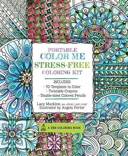 crayons colored pencils coloring book six books portable color me stress free coloring kit includes book