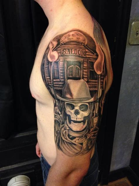 saloon amp skeleton cowboy sleeve best tattoo design ideas