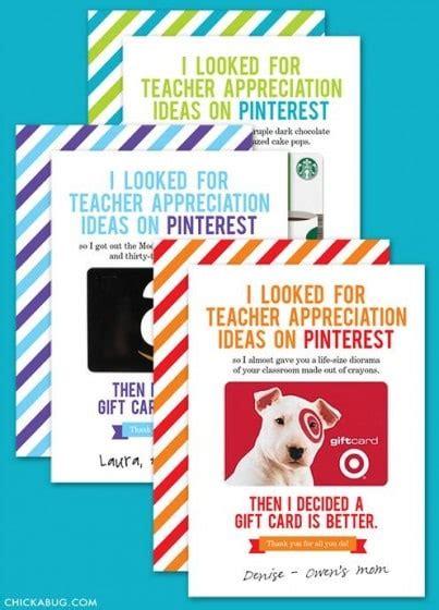 Gift Card Printables For Teachers - teacher appreciation gift cards