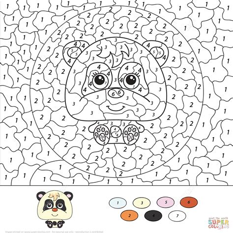 color by number panda color by number free printable coloring pages