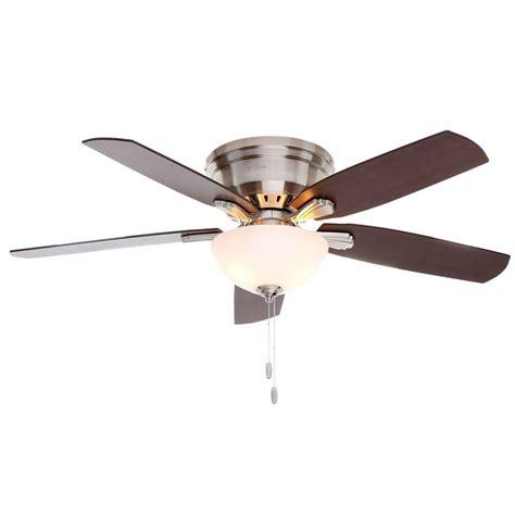 low profile brushed nickel ceiling fan hunter princeton 52 in indoor low profile brushed nickel