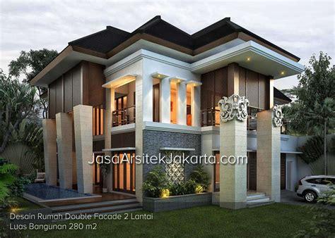 desain rumah lantai 2 desain rumah double facade 2 lantai luas bangunan 280 m2